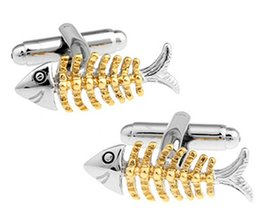 plated mens silver cufflinks 2019 - Two Tone Fish Cufflinks For Mens Luxury Cufflinks Fit Banquet Business Suit Wedding Party Shirt Birthday Gift cheap plat