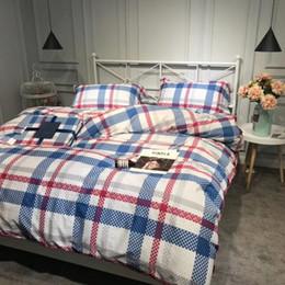 King Bars NZ - Long-staple cottonPlaids and vertical bars bed sheet bedding set reactive printed gentleman four-piece set code XL