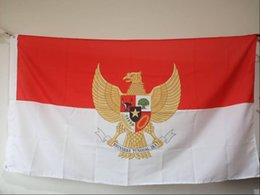 EmblEm flags online shopping - Indonesia Flag with Naitonal Emblem x150 cm Polyester Indonesian Country Banner