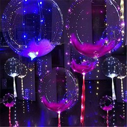 bobo fashion 2019 - Fashion Transparent Bobo Light Balloon multicolor LED glow party holiday decorations Helium LED Poms Cheer Items Lighted