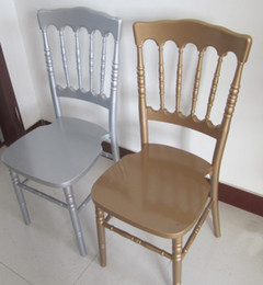 White Chairs For Wholesale Australia - factory low price wooden used gold silver white napoleon chair for banquet