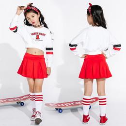 Jazz Dance Costumes For Girls Cheerleading Costume Children Hip Hop Kids  Street Dance Clothing Long Sleeve Red Skirts DN1739 c1a905ed0ed7