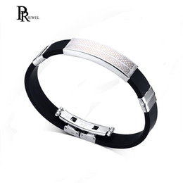 12mm Stainless Steel Beads NZ - High Polished Stainless Steel ID Bracelet Black Silicone Bangle 12mm width 8.25inch