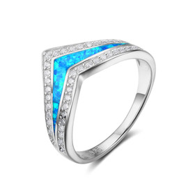 top wedding crowns UK - Top quality Popular Fashion 925 Sterling Silver with Simulated Blue Opal Ring Crown Wedding Ring For girls #RI102846