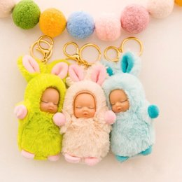 $enCountryForm.capitalKeyWord NZ - Sleeping Baby Keychain Cute Plush Doll Accessories Surprise Keyring Cartoon Action Figures Kid Fun Key Buckle 4 7pc W