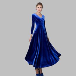 5feedb4cd Otoño invierno vestido de mujer 2018 Casual Vintage terciopelo vestido de  manga larga más tamaño 2XL elegante sexy vestido de fiesta largo ucrania