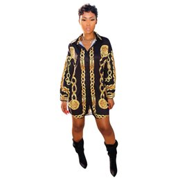 Chinese  Women Ladie Fashion Gold Chain Printed Stand Collar T Shirt Dress with Waistband Club Mini Dress Long Sleeved manufacturers