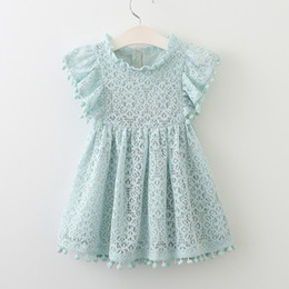 designs baby party gowns Australia - Baby Girls Bow-knot Design Mini Dress Children Baby Summer Style Party Wedding Princess Hollow Out Lace Dresses