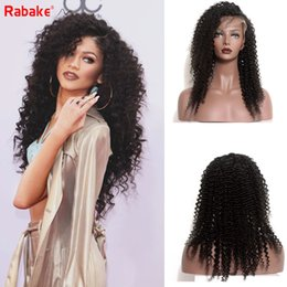 indian virgin hair weave wigs NZ - Rabakehair 9A Grade Brazilian Unprocessed Virgin Remy Human Hair Wigs Full Lace Kinky Curly wave Top swiss lace Wigs weaves