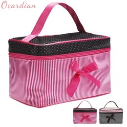 China Square Bow Stripe Makeup Bag Fashion Cosmetic Bag New 19*12*11cm DropShipping Hot Pink Black Color Portable Organizer Storage Bags cheap cosmetic bag stripe suppliers