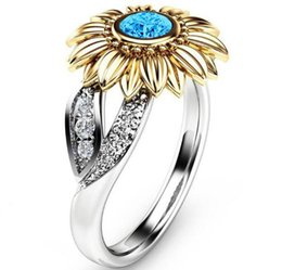 Spotted Plates Australia - 2019 Sunflower Zircon Ring New Diamond Crystal Gold Plated Gem Lovers Marry Upscale Women Jewelry Gift Spot 8 Size