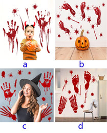 Wholesale Halloween Wall Sticker For Blood Footprints Horror Removable Sticker Background For Bar Window Home Decoration Style HH7