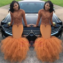 online shopping Sexy Mermaid Prom Dresses For Black Girl K17 Beading Elegant Long Sleeve Party Formal Evening Dresses