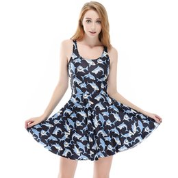 c97ab8c757a NEW 1149 Plus size Summer Women Dress Blue Animal Shark Emoji 3D Prints  Reversible Vest Skater Sexy Girl Pleated Dress