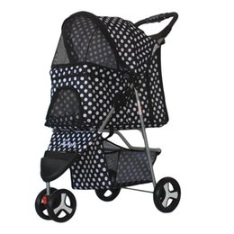 Chinese  Outdoor Travel Pet Stroller 360 Degree Rotation 3 Wheel Puppy Trolleys Not Rusty Folding Dog Cat Carrier Corrosion Resistant 145jd BB manufacturers