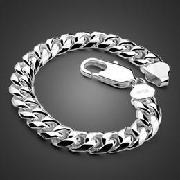Moda Masculina Prata mão catenária Sólido 925 prata esterlina 10 mm 20 cm pulseira. Jóia do bracelete dos homens do estilo do rock do hip-hop em Promoção