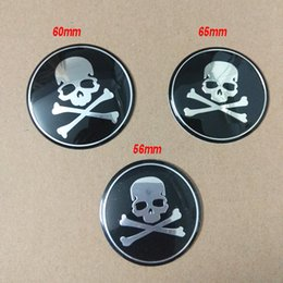 65mm Wheel Sticker NZ - 56MM 60MM 65MM Aluminum Skull Head Wheel Center Cap Emblem Decal Skeleton Wheel Sticker for Toyota Camry Reiz for VW Golf Polo