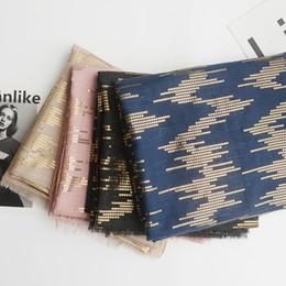gold color print scarves 2019 - 2018 Newest Lurex Gold Foil Print Fringe Scarf Women Luxury Scarves Shawls Wrap Hijab 7 Color Wholesale 10pcs LOT Free S