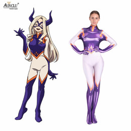 Discount zentai hero cosplay - Ainclu 3D Printing Lycra Mt.Lady Cosplay Heroes Halloween Party Zentaibodysuit Costume Multi-size selection for Kids Wom