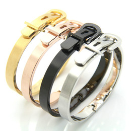 Wholesale Fashion Belt Buckle Bracelet Simple Style Colors Elegant Stainless Steel Bracelets Adjustable Bracelet Bangle For Women Men Accessories