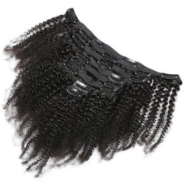 $enCountryForm.capitalKeyWord Australia - 120g 8pcs per set 4a 4b 4c Afro Kinky Curly Remy Hair Clip in Extensions Brazilian Human Hair Clip ins for African American