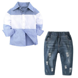 Chinese  Autumn Baby Boys Clothing Sets Fashion kids Clothing Sets Children Clothing set patchwork color shirts + Jeans Pants Clothes Suit manufacturers