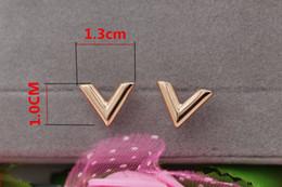 V shaped earrings online shopping - Stylish new stereo V shape titanium steel earrings rose gold women earrings jewelry Korean hot selling