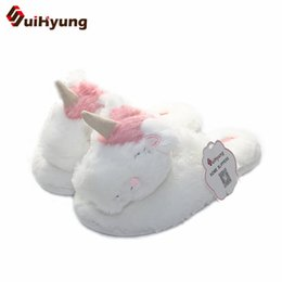 house slippers man animals 2019 - Suihyung New Women Winter Warm Home Slippers Sweet White Unicorn Shape Plush House Floor Slippers Indoor Shoes Bedroom c