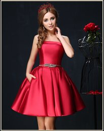$enCountryForm.capitalKeyWord NZ - New Arrival Satin Red Blue Short Homecoming Dresses Sash Corset Cheap Prom Dresses 2018 Mini Cocktail Party Gowns A Line