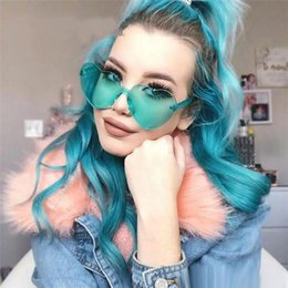 Heart Sun Glasses Wholesale UK - Love Heart Shape Sunglasses Women 2018 Rimless Frame Tint Clear Lens Colorful Sun Glasses Personality Sun Glass