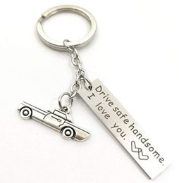 keychain drives Canada - Diy steel keychain, Drive safe handsome., safe driving car pendant fine polished keychain, promotional gifts, wholesale