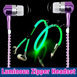 glow dark headphones UK - LED Glow Zipper Earphone Luminous Light Headset Music Headphones With Mic Handsfree Glow In The Dark for iphone Samsung Mobile phone