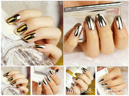 Discount punk stickers - 200pcs Mirror Nail Foil Stickers On Nail Full Wrap Sticker Gold Silver Metal Patch Punk girl Decal Art Manicure