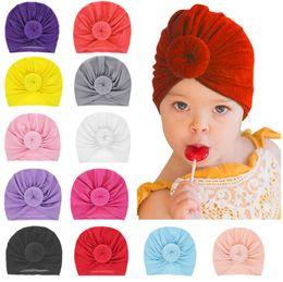Discount infant turbans - Fashion Donut Baby Hat Newborn Elastic Cotton Baby Beanie Cap Multicolor Infant Turban Hats Ball Knot Indian Turban LE15