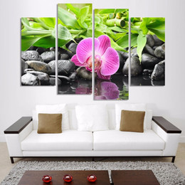 Art Canvas Prints Australia - Canvas Painting Wall Art 4 Panel Botanical Green Orchid Poster Frames Modular Printed Cuadros Living Room Decoration Pictures