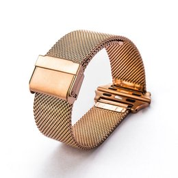 apple smart watch stainless steel band Canada - Smart watch Bands Milan mesh belt 316 stainless steel Wrist Bracelet Sport Band Strap For Apple Watch Series 38 42mm Universal model gold