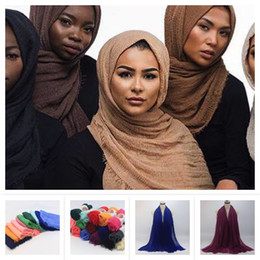 Linen scarves musLim online shopping - Pure Colors Oversize Cotton Linen Scarf Islamic Head Wraps Soft And Long Muslim Frayed Crepe Shawl Colors x180cm