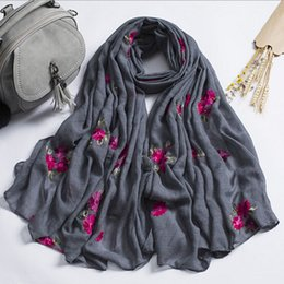 China Casual Cotton Linen Scarf Embroidery Floral India Headband Sunscreen Wrap Bandana Muslim Instant Arab Style Hijab Loop Shawls supplier wholesale scarves india suppliers