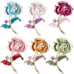 Wholesale Rose Brooches Pins Crystal Rose Flower Pins Gold Flower Corsage for For Women Clothes Accessories Jewelry valentine Christmas Gift