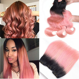 Peruvian gold hair online shopping - Brazilian Virgin Hair Ombre Malaysian Body Wave Human Hair Weave Bundles Rose Gold Ombre B Pink Ombre Human Hair Extensions