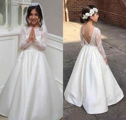 lovely cheap wedding dresses 2019 - 2018 White Princess Cheap Lovely Cute Long Sleeves Lace Backless Flower Girl Dresses Daughter Toddler Pretty Kids First