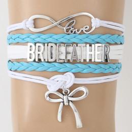 Love Bow Bracelet NZ - NCRHGL Infinity love BRIDE FATHER bracelets bangles Bow charm Braided bracelet 2018 Wedding Jewelry For Gentleman Drop Shipping