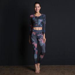 Sex Yoga Pants UK - Women Yoga Set Breathable Gym Running Sport Suit Sex Fitness Long Clothes Tracksuit Sportswear Zipper Top+Leggings Dropshipping
