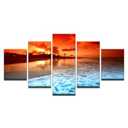 glow decor UK - Canvas Painting Living Room Wall Art Framework 5 Piece Sunset Glow Beach Sea Waves Poster HD Prints Seascape Pictures Home Decor Y18102209