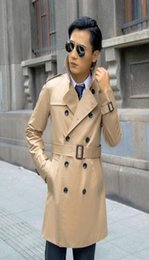 $enCountryForm.capitalKeyWord Canada - Europe khaki 2017 new designer slim sexy trench coat men overcoat long sleeve mens clothing business outerwear casaco masculino