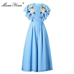 roses butterflies 2019 - MoaaYina Fashion Designer Runway Dress Summer Women Butterfly sleeve Pleated Rose Applique Sky blue Casual Elegant Slim