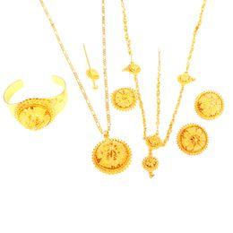 $enCountryForm.capitalKeyWord UK - Ethiopian Gold Jewelry Set Hair Chain Forehead Chain 6pcs Accessory Bridal Wedding Jewelry