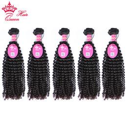 12 Inch Weft Human Hair Australia - Queen Hair Products 5Bundles Brazilian Kinky Curly Weave Virgin Human Hair Bundles 12-28 inch Natural Color Hair Weft Free Shipping