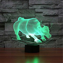 illusions paintings Australia - 3D Glow LED Night Light Wall Street Bulls Inspiration 7 Colors Optical Illusion Lamp Touch Sensor for Home Party Festival Decor Great Gift