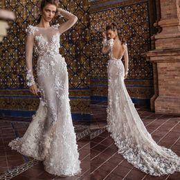 $enCountryForm.capitalKeyWord Canada - 2018 Berta Wedding Dresses With Long Sleeve Tulle 3D Floral Applique Illusion Sexy Beach Wedding Gown Sweep Train Backless Boho Bridal Dress